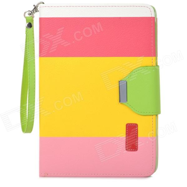 Protective PU Leather Case w/ Card Holder Slots / Hand Strap for Retina Ipad MINI - Yellow + Pink zs0012 protective pu leather case w auto sleep for retina ipad mini white deep pink yellow