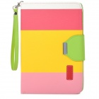 Protective PU Leather Case w/ Card Holder Slots / Hand Strap for Retina Ipad MINI - Yellow + Pink