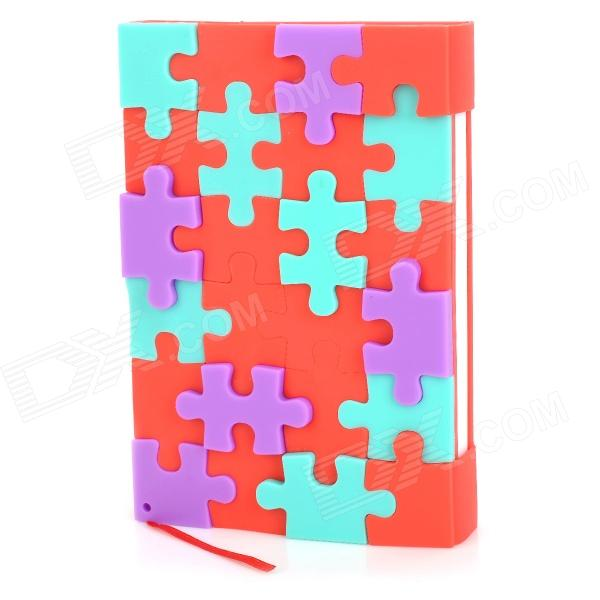 Silicone Jigsaw Pattern Cover Creative Notebook - Red + White + Green + Purple