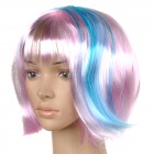 Fashion Short Straight Hair Wigs - Pink + Blue