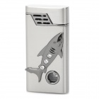 Cool Crystal Inlaid Shark Relievo Windproof Jet Lighter w/ LED - Silver (1 x AG3)