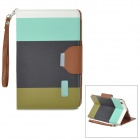 Protective PU Leather Case w/ Card Holder Slots / Hand Strap for Retina Ipad MINI - Black + Green