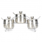 Stainless Steel Seasoning Pot Bottle Set - Silver