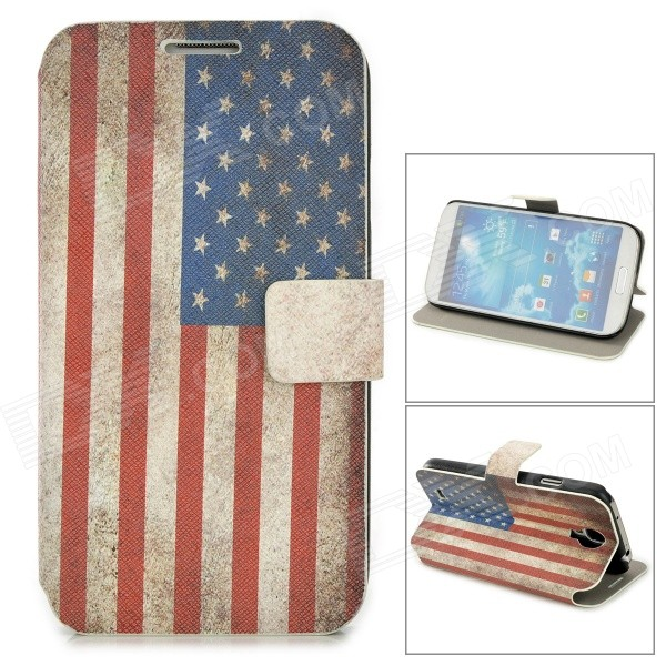 Retro US National Flag Style PU Leather Case for Samsung Galaxy S4 i9500 - Blue + Red + White retro uk national flag style pu leather case w auto sleep for ipad 2 3 4 red white blue