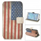 Retro US National Flag Style PU Leather Case for Samsung Galaxy S4 i9500 - Blue + Red + White