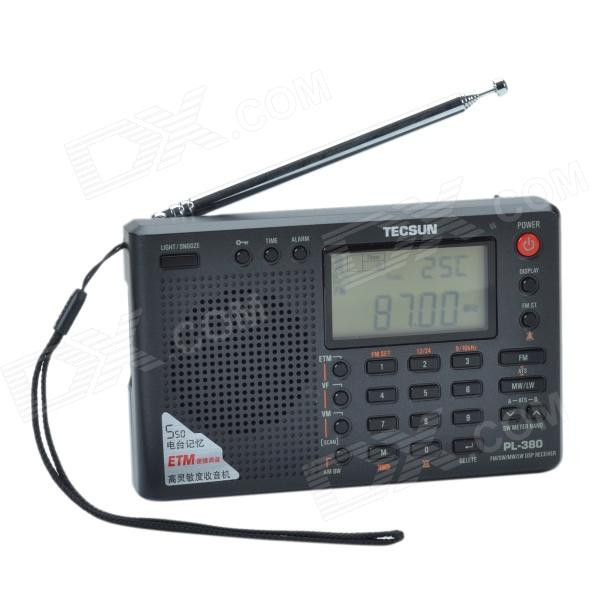TECSUN PL-380 2.2 LCD AM / FM Stereo World Band DSP Receiver w/ 550-Channel Memory Function - Black old version degen de1103 1 0 ssb pll fm stereo sw mw lw dual conversion digital world band radio receiver de 1103 free shipping