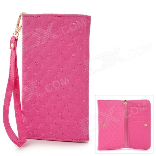 Checked Style Protective PU Leather Case for Samsung Galaxy Note 3 / N7100 / i9082 - Deep Pink стоимость
