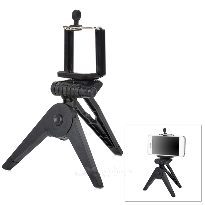 Small Desktop Cellphone Holder + TrIpod for Samsung / HTC / Iphone + More - Black zd universal desktop clip on flexible cellphone holder for samsung htc more white