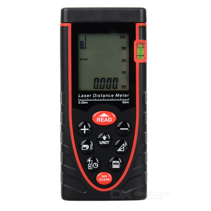 RZ60 60M Handheld Laser Distance Meter - Black + Red