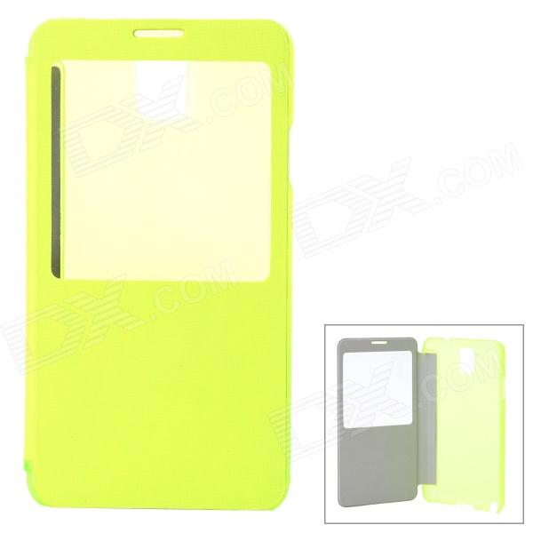 Stylish PU + PC Flip-Open Smart Case for Samsung Galaxy Note 3 / N9000 - Green + Translucent waterproof shockproof snowproof pc silicone case for samsung galaxy note 3 n9000 yellow