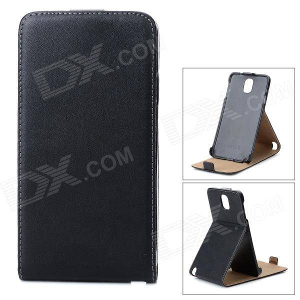 Protective PU Leather Top-Down Open Case w/ Stand for Samsung Galaxy note 3 N9006 - Black protective flip open pu case w stand card slots for samsung galaxy s4 active i9295 black