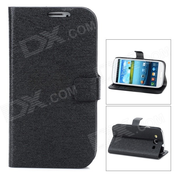 Stylish PU Leather Stand Case w/ Card Slots for Samsung Galaxy S3 / i9300 - Black lichee pattern protective pu leather case stand w card slot for samsung galaxy s3 i9300 black