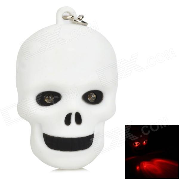 Creative Skull Head Style 2-LED Red Flashlight Keychain - White (3 x AG10) skull head style spring car decoration red white