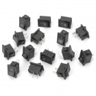 A051 250V 10A Rock Switch - Black + Silver (15 PCS)