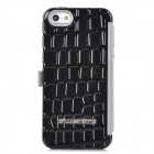 Protective Plastic + Silicone + Aluminum Alloy Flip-Open Case for Iphone 5 - Black + Grey