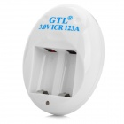 GTL AC123A-3.0 2-Flat-Pin Plug Charger for 3.0V ICR 123A - White + Blue