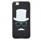 Hat Pattern Glow-in-the-Dark Protective Plastic Back Case for Iphone 5C - Black + Beige + Light Blue