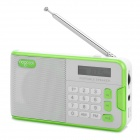 "R808 Portable 1.3"" LCD FM / AM Radio / MP3 Player w/ Micro USB / 3.5mm / TF - White + Green"