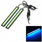 6W 20lm Waterproof 464nm 60-COB LED Ice Blue Light Car Daytime Running Lamps - Green + Black (2 PCS)