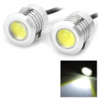 3W 75lm 6000K 1-LED White Light Car Running / Daylight / Fog Lamp - Silver (2 PCS / 12V)