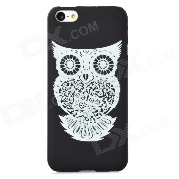 Owl Pattern Glow-in-the-Dark Protective Plastic Back Case for Iphone 5C - Black + Light Green stylish glow in the dark protective pc pu bumper frame case for iphone 5c orange
