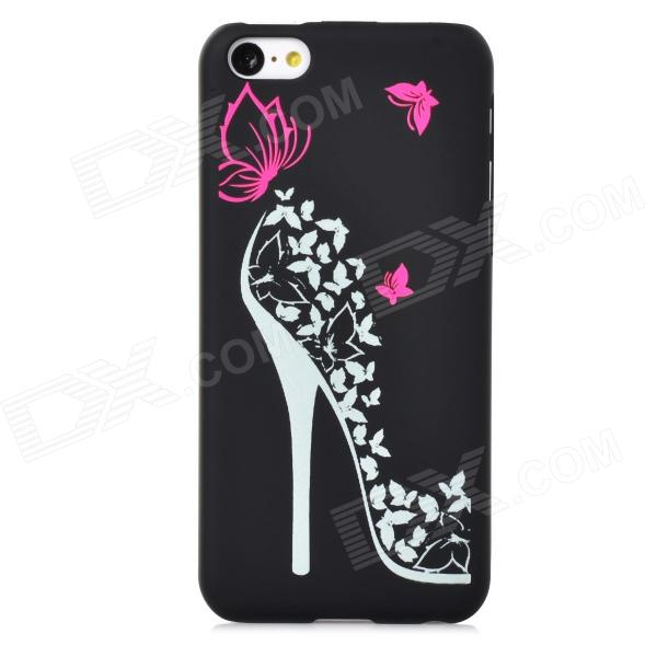 High Heels Pattern Glow-in-the-Dark Protective Plastic Back Case for Iphone 5C - Black + Deep Pink cute girl pattern protective rhinestone decoration back case for iphone 5 light pink light blue
