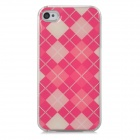 Stylish Checked Style Protective Plastic Back Case for Iphone 4 / 4S - Deep Pink + Beige + Pink