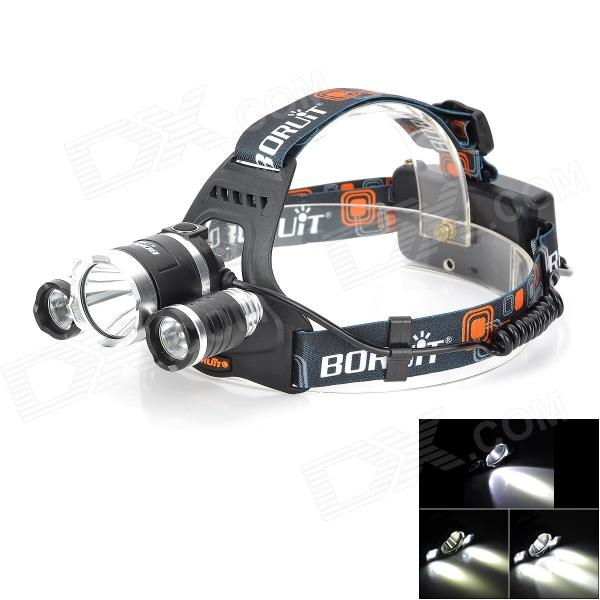 BORUIT RJ-3000 1200lm 4-Mode White Bike Headlamp w/ 3 x Cree XM-L T6 - Black + Silver (1~2 x 18650) 600lm 3 mode white bicycle headlamp w cree xm l t6 black silver 4 x 18650