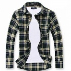 Stylish Men's Long-sleeved Cotton Plaid Shirt - Green (Size-L)