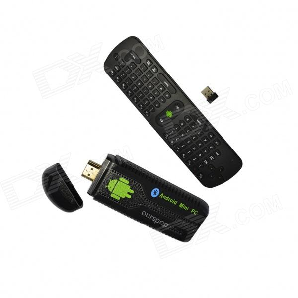 Ourspop OU07 Quad-Core Android 4.2.2 Google TV Player w/ 2GB RAM, 8GB ROM + RC11 Air Mouse (US Plug) ourspop mk809biii dual core rk3066 android 4 2 2 1gb ddr3 8gb nand flash tv box mini pc rc11 air mouse us plug