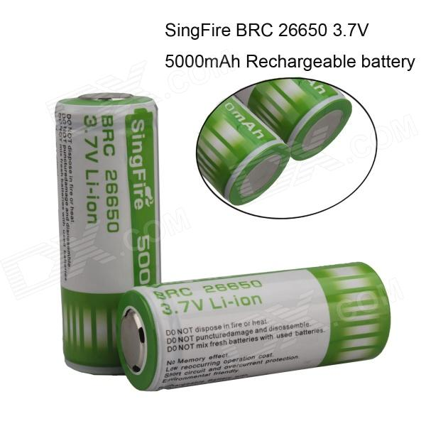 SingFire SF-B65W 3.7V 26650 5000mAh Li-ion Protected Battery (2 PCS) golisi 26650 lithium ion battery protected 3 7v high drain 4300mah rechargeable battery for headlamps led flashlight torch