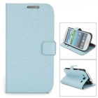 Silk Style Protective PU Leather Case for Samsung Galaxy S3 i9300 - Blue