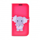 LOFTER Cartoon Elephant Style Flip Open PU Leather Case Cover for Samsung Galaxy S4 i9500 - Pink