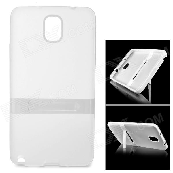 Protective TPU Back Case w/ Stand for Samsung Galaxy Note 3 - Translucent White protective silicone case for nds lite translucent white