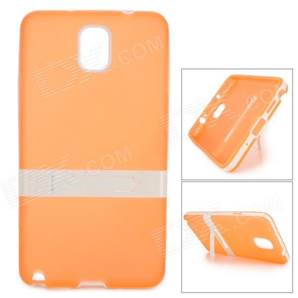 Protective TPU Back Case w/ Stand for Samsung Galaxy Note 3 - Orange + White