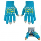 Snowflake Pattern Wool Capacitive Screen Touching Hand Warmer Glove - Blue