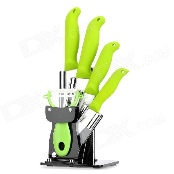 TJC TJC-0181 6-in-1 Kitchen Zirconia Ceramics Blade Knifes Set - Green + White
