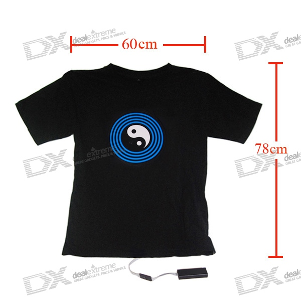 EL Morphing Light-up The Eight Diagrams T-shirt - XXXL (2*AAA)