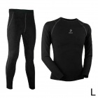 ARSUXEO N51-B Outdoor Sports Lycra + Fleeces Compression Top + Pants for Men - Black (L)