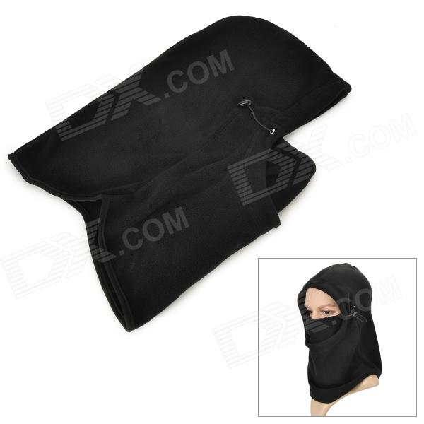 Windproof Adjustable Polar Fleece Mask Hat - Black