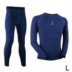 ARSUXEO N51-B Outdoor Sports Lycra + Fleeces Compression Top + Pants for Men - Blue (L)
