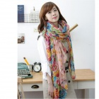1101 Women's Floral Voile Scarves Shawl - Multicolored