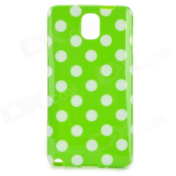 Polka Dot Style Protective Silicone Back Case for Samsung Galaxy Note 3 - Green + White pannovo silicone shockproof fallproof dustproof case for samsung galaxy note 3 camouflage green