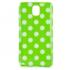 Polka Dot Style Protective Silicone Back Case for Samsung Galaxy Note 3 - Green + White