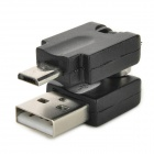 360 Degree Rotatable Micro USB to USB Adapter Converter - Black