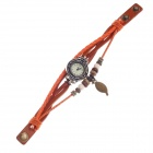 Tingyi Stylish Retro PU Leather + Rope Watch Band Women's Quartz Watch - Orange + Bronze (1 x LR626)