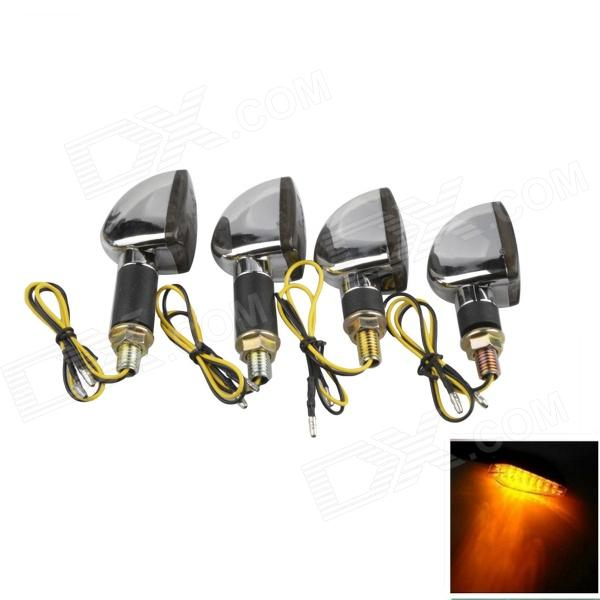 A-1307 Waterproof 2W 112lm 14-LED Yellow Light Motorcycle Turn Signals Bulb - Silver (12V / 4PCS) 1 pair chrome motorcycle mirror muscle led turn signals light moto rear side view mirrors case for harley v rod v rod vrscf