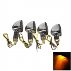 A-1307 Waterproof 2W 112lm 14-LED Yellow Light Motorcycle Turn Signals Bulb - Silver (12V / 4PCS)