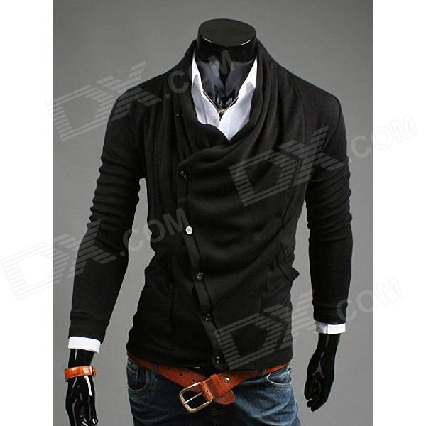REVERIEUOMO WY30 Personality Knitted Men's Cardigan - Black (Size-L)
