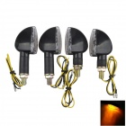 A-1307 Waterproof 2W 112lm 14-LED Yellow Light Motorcycle Turn Signals - Black (12V / 4PCS)